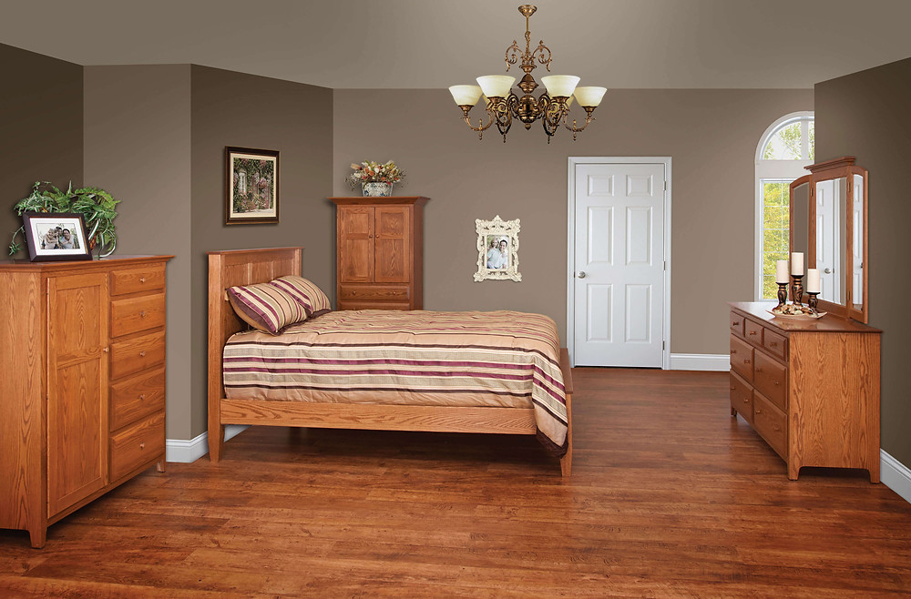 English Shaker Bedroom Furniture Collection English Shaker Panel Bed, 66in Dresser with Tri-View Mirror, Man's Chest, Doctor's Chest Solid Oak in Seely OCS104 The Amish Home Amish Furniture at the Pittsburgh Mills