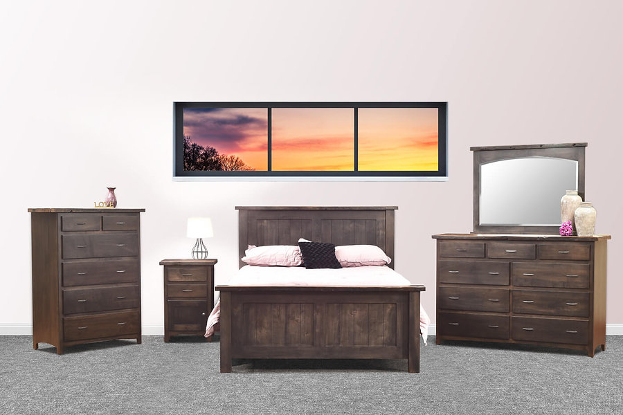 Pilgrim Collection rusic bedroom furniture set with queen panel bed, tall dresser with 9 drawers and mirror, 6 drawer chest, and nightstand with one door and two drawers, with reclaimed barnwood tops
