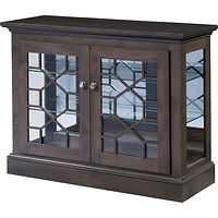 Odessa Console Curio | 2 adjustable shelves with plate groove, mirror back, clear glass, LED touch light, no lock | Cherry in Smoke OCS121 | 39in W x 13 1/2in D x 30in H | The Amish Home | Amish Furniture at the Pittsburgh Mills