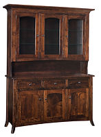 Fenton Hutch | Standard features include flat back, can lights, plate-grooved glass shelves, soft-close drawers and soft-close doors. Available with optional wine rack. | Brown Maple in Asbury OCS117 | 63in W x 21in D x 85in H | The Amish Home | Amish Furniture at the Pittsburgh Mills