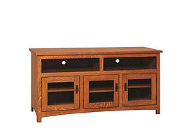Michael's Mission TV Cabinet|Quartersawn White Oak in Michaels OCS113|60in W x 20in D x 30in H|The Amish Home|Amish Furniture at the Pittsburgh Mills