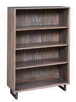 Capri Industrial Style Bookcase with metal base|Oak in Antique Slate OCS118|32in W x 12in D x 36in H|The Amish Home|Amish Furniture at the Pittsburgh Mills