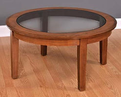 Deluxe Shaker Round Coffee Table|Cherry in Boston OCS111|36in W x 36in D x 18in H|The Amish Home|Amish Furniture at the Pittsburgh Mills