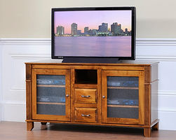 Arlington TV Stand with 2 Glass Doors, 2 Drawers, and Component Shelf   Quartersawn White Oak in Michaels OCS113   60in W x 18in D x 29 1/2in H   The Amish Home   Amish Furniture at the Pittsburgh Mills