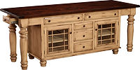 Constance Bay Kitchen Island | 2 doors, 7 drawers & 2 adjustable shelves. Shown with Rough Sawn top. | Brown Maple in Paint & Glaze | 92in W x 24 1/2in D x 34 1/2in H | The Amish Home | Amish Furniture at the Pittsburgh Mills