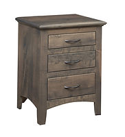 Choices 3 Drawer Nightstand|Brown Maple in Smoke OCS121|22in W x 19in D x 28in H|The Amish Home|Amish Furniture at the Pittsburgh Mills
