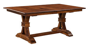 Bowerston Trestle Table | Shown with rectangular top, eased edge. Butterfly leaf available. | Brown Maple in Michaels OCS113 | Many Sizes Available | The Amish Home | Amish Furniture at the Pittsburgh Mills