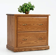 Highland Lateral File Cabinet with two drawers | Oak in Fruitwood OCS102 | 33in W x 20in D x 30 3/4in H | The Amish Home | Amish Furniture at the Pittsburgh Mills