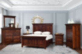 Marcella Bedroom Furniture Collection|Marcella Panel Storage Bed, Mule Dresser with Mirror, Bureau, 3 Drawer Nightstand, 1 Drawer 1 Door Nightstand|Solid Rustic Cherry in Asbury OCS117|The Amish Home|Amish Furniture at the Pittsburgh Mills