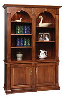 Twin Crescent Moon Bookcase|Oak in Asbury OCS117|59 1/2in W x 22 1/2in D x 86 1/2in H|The Amish Home|Amish Furniture at the Pittsburgh Mills