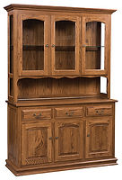Addieville 3 Door Hutch|Oak in Fruitwood OCS102|58 1/4in W x 20 3/4in D x 84in H|The Amish Home|Amish Furniture at the Pittsburgh Mills