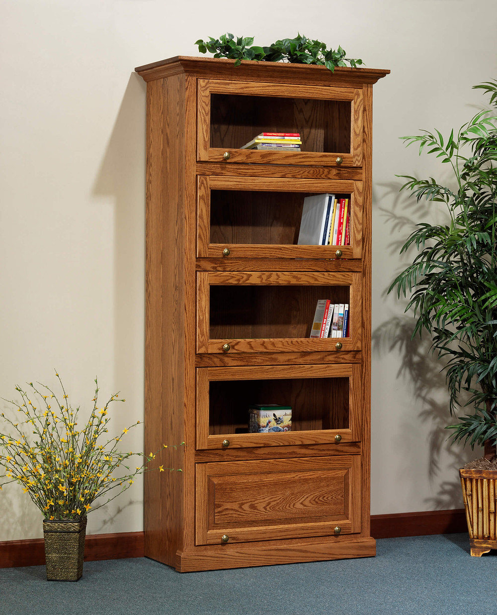 Highland Barrister Bookcase|Oak in Fruitwood OCS102|40 1/4in W x 19in D x 85 3/4in H|The Amish Home|Amish Furniture at the Pittsburgh Mills