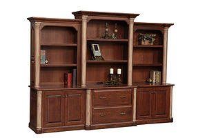 Jefferson Premier 3-piece Credenza with optional hutch | Available with contrasting columns in stone finish | Cherry in Chocolate Spice FC-9090 | 116in W x 26in D x 85 1/2in H | The Amish Home | Amish Furniture at the Pittsburgh Mills