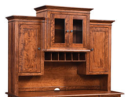 Cherry Valley Canted Hutch for 54in, 62in, and 72in desks | Rustic Cherry in Michaels OCS113 | 72in W x 18in D x 48in H | The Amish Home | Amish Furniture at the Pittsburgh Mills