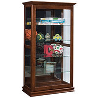 XXL Sliding Door Picture Frame Curio | 4 adjustable shelves with plate groove, mirror back, clear glass, LED touch light, door slides left | Oak in Asbury OCS117 | 39 1/2in W x 20in D x 72in H | The Amish Home | Amish Furniture at the Pittsburgh Mills