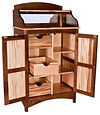 Wine Cabinet with 3 drawers and 2 shelves|Brown Maple in Two-toned|34 1/2in W x 21in D x 61in H|The Amish Home|Amish Furniture at the Pittsburgh Mills