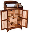 Wine Cabinet with 3 drawers and 2 shelves Brown Maple in Two-toned 34 1/2in W x 21in D x 61in H The Amish Home Amish Furniture at the Pittsburgh Mills