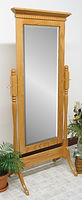 Traditional Cheval Mirror|Oak in Fruitwood OCS102|26 3/4in W x 17in D x 66in H|The Amish Home|Hardwood Furniture at the Pittsburgh Mills