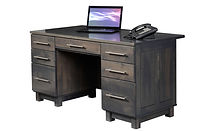 Urban Executive Desk | One pencil drawer, two file drawers, four storage drawers, inset front panel, clipped top front corners. | Brown Maple in Antique Slate OCS118 | 60in W x 30in D x 30 3/4in H | The Amish Home | Amish Furniture at the Pittsburgh Mills
