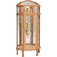 Bonnet Top Curio | 3 adjustable shelves with plate groove, mirror back, clear glass, 2 LED touch lights, brass pull with lock, door hinged right | Oak in Fruitwood OCS102 | 34in W x 16in D x 76in H | The Amish Home | Amish Furniture at the Pittsburgh Mills