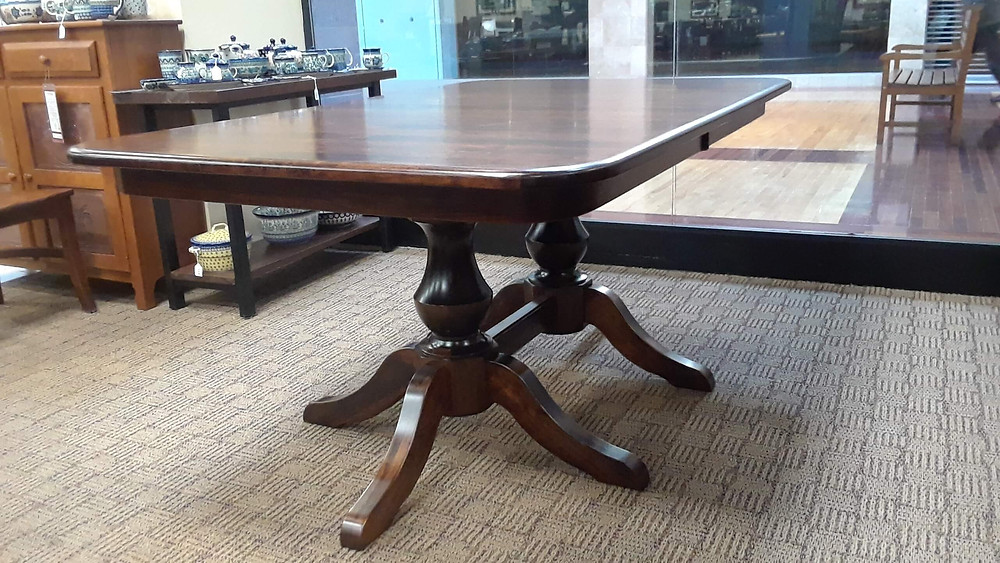 Denver Double Pedestal Dining Table - Showroom Display - Rustic Cherry with Asbury Stain, 42x66 with two self-store leaves