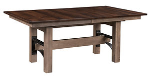 Frontier Trestle Table | Shown with rectangular top, eased edge. Solid wood with metal accents. Butterfly leaf available. | Brown Maple in Two-toned | Many Sizes Available | The Amish Home | Amish Furniture at the Pittsburgh Mills