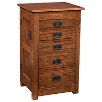 35in Mission Jewelry Armoire | 5 drawers, 1 with ring bar, 2 with wooden dividers,2 with velvet bottom, side wings with 8 jewelry hooks each. Full extension drawer slides. | Oak in Boston OCS111 | 19in W x 16in D x 35in H | The Amish Home | Amish Furniture at the Pittsburgh Mills