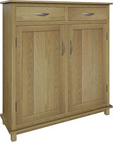 Ozark Pie Safe with two doors and two drawers | with two adjustable shelves | Oak in Sand OCS132 | 48in W x 16in D x 51in H | The Amish Home | Amish Furniture at the Pittsburgh Mills