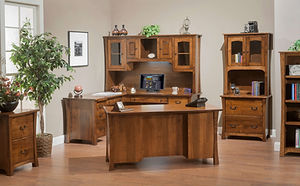 Woodbury Office Furniture Collection|Executive desk, L-desk with hutch, lateral file cabinet with hutch, file cabinet, bookcase|Solid Brown Maple in Asbury OCS117|The Amish Home|Amish Furniture at the Pittsburgh Mills