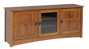 Liberty Mission TV Stand with 2 Wood Doors and 1 Glass Door | Craftsman style. Flat sides, arched base. Three doors, center door is glass, side doors are wood with mullion detail. | Rustic Quartersawn White Oak in Michaels OCS113 | 60in W x 18in D x 30in H | The Amish Home | Amish Furniture at the Pittsburgh Mills