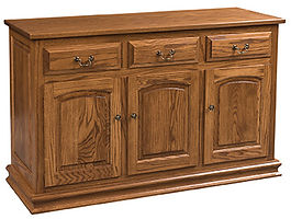 Addieville 3 Door Buffet|Oak in Fruitwood OCS102|55 3/4in W x 20 3/4in D x 35in H|The Amish Home|Amish Furniture at the Pittsburgh Mills