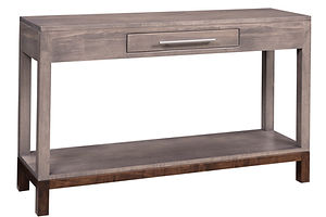 Vienna Amish Sofa Table. Contemporary console table with drawer and shelf. Swedish style furniture, amish living room tables, brown maple with two-tone finish, made in the USA.