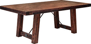 Glenwood Trestle Dining Table | Rustic Cherry in Asbury OCS117 | Many Sizes Available | The Amish Home | Amish Furniture at the Pittsburgh Mills