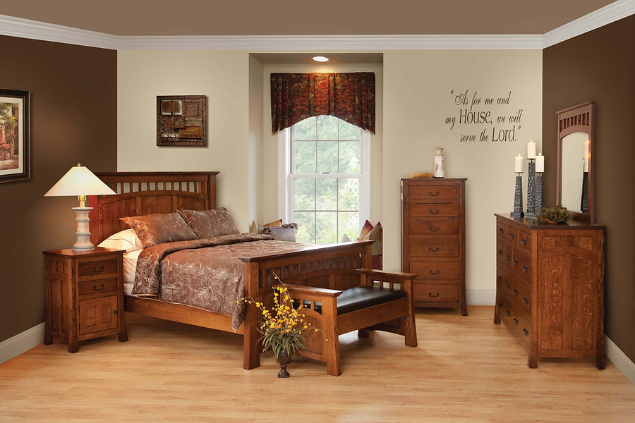 Bridgeport Mission Bedroom Furniture Collection|Bridgeport Mission Panel Bed, Mule Dresser with Mirror, 2 Drawer 1 Door Nightstand, Lingerie Chest, Day Seat|Solid Quartersawn White Oak in Michaels OCS113|The Amish Home|Amish Furniture at the Pittsburgh Mills