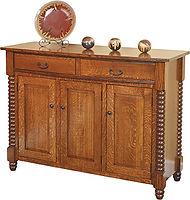 Sophia Server|Quartersawn White Oak in Michaels OCS113|58 1/4in W x 21 5/8in D x 42in H|The Amish Home|Amish Furniture at the Pittsburgh Mills