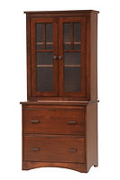 Prairie Mission Two-drawer Lateral File with Long Door Hutch | Brown Maple in Coffee OCS226 | 31 1/2in W x 20 1/4in D x 71 1/4in H | The Amish Home | Amish Furniture at the Pittsburgh Mills