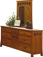 Bridgeport Mission 72in Dresser|Quartersawn White Oak in Michaels OCS113|71in W x 19 3/4in D x 35in H|The Amish Home|Amish Furniture at the Pittsburgh Mills