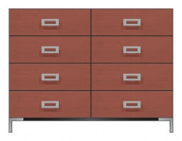 American Modern 56in 8-Drawer Dresser|Brown Maple|56in W x 20in D x 43in H|The Amish Home|Amish Furniture at the Pittsburgh Mills