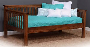 Amon's Mission Day Bed Trundle Bed|Oak in Michaels|83 1/2in W x 46 1/4in D x 37in H|The Amish Home|Amish Furniture at the Pittsburgh Mills