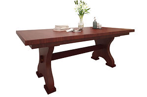 Farmer Trestle Table | 1 1/2 inch top standard. Shown with rectangular top, eased edge. Butterfly leaf available. | Brown Maple in Mission Maple OCS225 | Many Sizes Available | The Amish Home | Amish Furniture at the Pittsburgh Mills