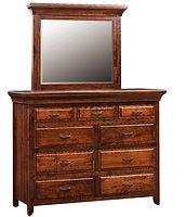 Marcella Mule Dresser|Rustic Cherry in Asbury OCS117|62in W x 21 3/4in D x 47in H|The Amish Home|Hardwood Furniture at the Pittsburgh Mills