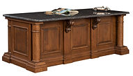Paris Executive Desk shown from back | Cherry in Chocolate Spice FC-9090 | 82 1/2in W x 38in D x 30 1/2in H | The Amish Home | Amish Furniture at the Pittsburgh Mills