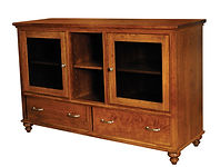 Duchess TV Stand | Rustic Cherry in Asbury OCS117 | 62 1/4in W x 20 5/8in D x 40in H | The Amish Home | Amish Furniture at the Pittsburgh Mills