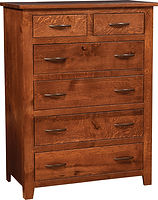 Bloomfield Six-Drawer Chest | Four wide inset drawers, two narrow inset drawers.  | Rustic Quartersawn White Oak in Michaels OCS113 | 58in W x 21in D x 52 1/2in H | The Amish Home | Amish Furniture at the Pittsburgh Mills