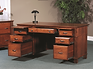 Arlington Executive Desk shown open | Brown Maple in Acres OCS106 | 60in W x 30in D x 31 1/4in H | The Amish Home | Amish Furniture at the Pittsburgh Mills