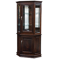Corner Deluxe Curio with Enclosed Base | 2 adjustable shelves with plate groove, 1 adjustable wood shelf, mirror back, clear glass, LED touch light, brass plate with lock, door hinged right | Brown Maple in Rich Tobacco OCS228 | 36in W x 20 1/4in D x 73in H, 25 1/2in wall space | The Amish Home | Amish Furniture at the Pittsburgh Mills
