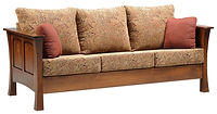 Woodbury Sofa | Seat height 18 1/2in. Seat depth 20in. Curved leg style. Reversible back & seat cushions, crisscross webbing on back & seat, fiber pad with bonded foam, full back wood panel display. Available in fabric or leather. | Brown Maple in Asbury OCS117 | 81 1/2in W x 39 1/4in D x 34in H | The Amish Home | Amish Furniture at the Pittsburgh Mills