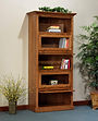 Highland Barrister Bookcase | Barrister bookcases feature glass panel doors that lift up to open and tuck into the case.  | Oak in Fruitwood OCS102 | 40 1/4in W x 19in D x 85 3/4in H | The Amish Home | Amish Furniture at the Pittsburgh Mills