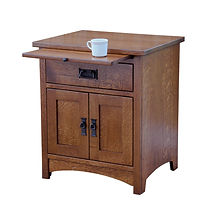 Empire Mission 1 Drawer 2 Door Nightstand|Quartersawn White Oak in Michaels OCS112|24 3/4in W x 20 3/4in D x 29in H|The Amish Home|Hardwood Furniture at the Pittsburgh Mills