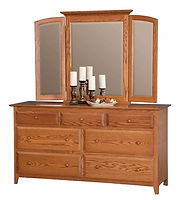 English Shaker 66in Dresser|Oak in Seely OCS104|66in W x 20 1/4in D x 35in H|The Amish Home|Hardwood Furniture at the Pittsburgh Mills